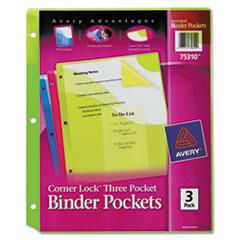 Avery(R) Corner Lock(TM) 3-Pocket Binder Pockets