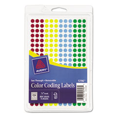 """Avery(R) Handwrite-Only Self-Adhesive """"See Through"""" Removable Round Color Dots"""