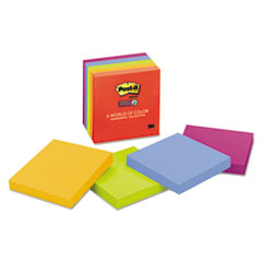 Notes Super Sticky, Pads in Marrakesh Colors, 3 x 3, 90 Sheets, 5/PK