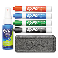 Low Odor Dry Erase Marker Starter Set, Chisel, Assorted, 4/ST