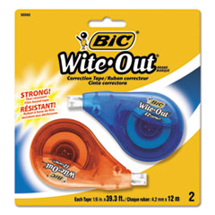 "Wite-Out EZ Correct Correction Tape, Non-Refillable, 1/6"" x 472"", 2/Pack"