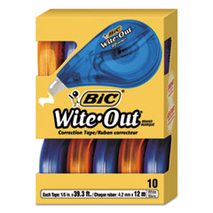 "Wite-Out EZ Correct Correction Tape, Non-Refillable, 1/6"" x 472"", 10/BX"