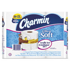 Ultra Soft Bathroom Tissue, 2-Ply, 4 x 3.92, 308 Sheets/Roll, 18 Rolls/Pack