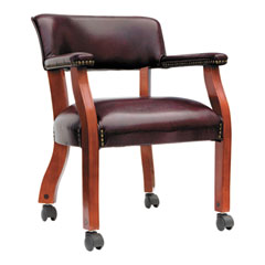 Alera(R) Traditional Series Guest Arm Chair with Casters
