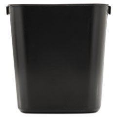 Deskside Plastic Wastebasket, Rectangular, 3 1/2 gal, Black