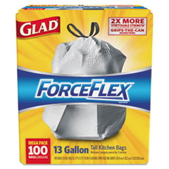 ForceFlex Tall Kitchen Drawstring Bags, 13 gal, .90mil, 24x25 1/8 White 100/Bx