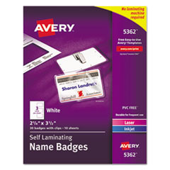 Avery(R) Self-Laminating Name Badges with Clips