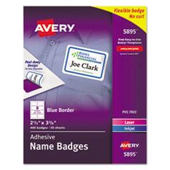 Flexible Self-Adhesive Laser/Inkjet Name Badge Labels, 2 1/3 x 3 3/8, BE, 400/BX