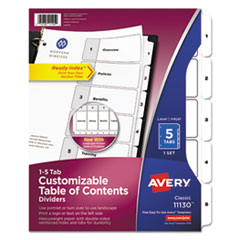 Avery(R) Ready Index(R) Customizable Table of Contents Black & White Dividers