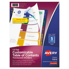Avery(R) Ready Index(R) Customizable Table of Contents Plastic Dividers