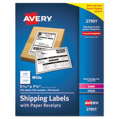 Avery(R) Shipping Labels with Paper Receipt Bulk Pack