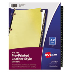 Avery(R) Preprinted Black Leather Tab Dividers with Copper Reinforced Holes