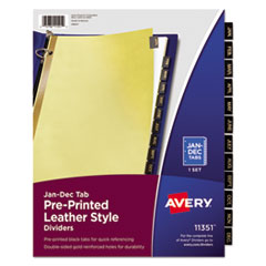 Avery(R) Preprinted Black Leather Tab Dividers with Gold Reinforced Binding Edge