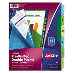 Avery(R) Preprinted Plastic Tab Double Pocket Dividers