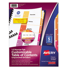 Avery(R) Ready Index(R) Customizable Table of Contents Unpunched Dividers with Narrow Tabs