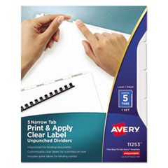 Avery(R) Index Maker(R) Print & Apply Clear Label Unpunched Dividers for Binding Systems with White Narrow Tabs