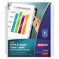 Avery(R) Index Maker(R) Print & Apply Clear Label Sheet Protector Dividers