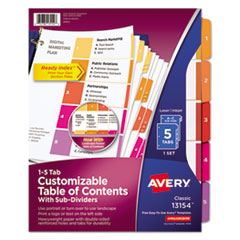 Avery(R) Ready Index(R) Customizable Table of Contents Dividers with Subdividing Multicolor Tabs