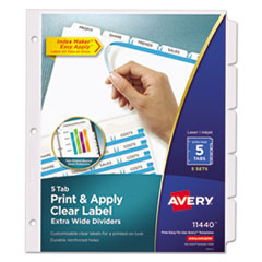 Avery(R) Index Maker(R) Print & Apply Clear Label Dividers with White Tabs
