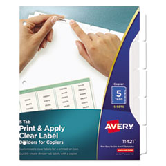 Avery(R) Index Maker(R) Print & Apply Clear Label Dividers with White Tabs for Copiers