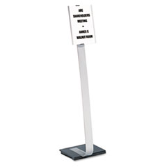 Info Sign Duo Floor Stand, Letter-Size Inserts, 15 x 44-1/2, Clear