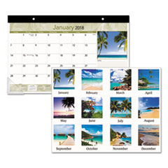 AT-A-GLANCE(R) Tropical Compact Monthly Desk Pad
