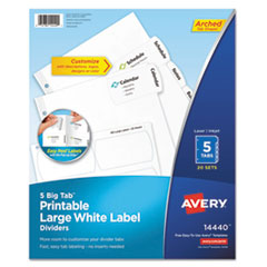 Avery(R) Big Tab Large White Label Tab Dividers