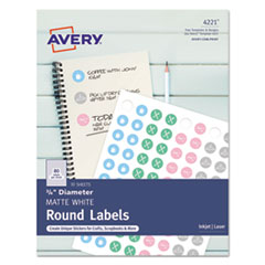 """Avery(R) Printable Self-Adhesive Permanent 3/4"""" Round ID Labels"""