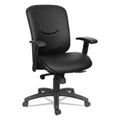 Alera(R) Eon Series Mid-Back Leather Synchro with Seat Slide Chair