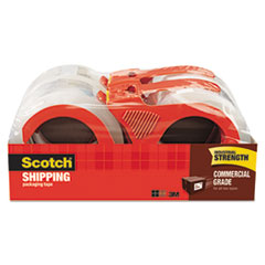 """3750 Commercial Grade Packaging Tape with Dispenser, 3"""" Core, 1.88"""" x 54.6 yds, Clear, 4/Pack"""