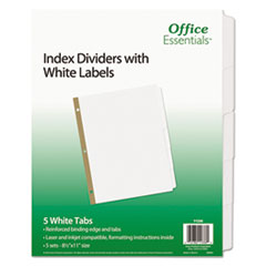 Office Essentials(R) Index Dividers with White Labels