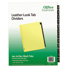 Office Essentials(R) Preprinted Black Leather Tab Dividers