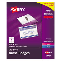 Badge Holder Kit w/Laser/Inkjet Insert, Top Load, 2 1/4 x 3 1/2, White, 100/BX