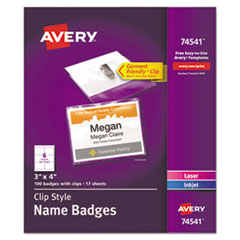 Badge Holder Kit w/Laser/Inkjet Insert, Top Load, 3 x 4, White, 100/Box