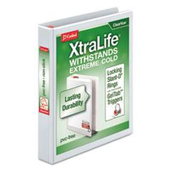 "XtraLife ClearVue Non-Stick Locking Slant-D Binder, 1"" Cap, 11 x 8 1/2, White"