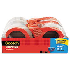 "3850 Heavy-Duty Packaging Tape with Dispenser, 3"" Core, 1.88"" x 54.6 yds, Clear, 4/Pack"