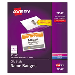 Clip-Style Name Badge Holders w/Inserts, Top Load, 3 x 4, White, 100/Box