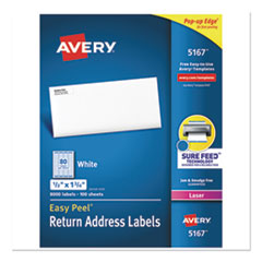 Easy Peel White Address Labels w/ Sure Feed Technology, Laser Printers, 0.5 x 1.75, White, 80/Sheet,