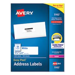 Easy Peel White Address Labels w/ Sure Feed Technology, Laser Printers, 1.33 x 4, White, 14/Sheet, 1