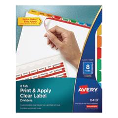 Print and Apply Index Maker Clear Label Dividers, 8 Color Tabs, Letter, 5 Sets