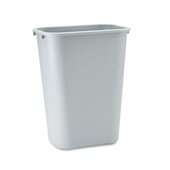 Deskside Plastic Wastebasket, Rectangular, 10 1/4 gal, Gray