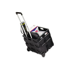 Stow And Go Rolling Cart, 16-1/2 x 14-1/2 x 39, Black