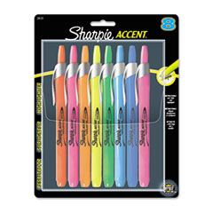 Accent Retractable Highlighters, Chisel Tip, Assorted Colors, 8/ST
