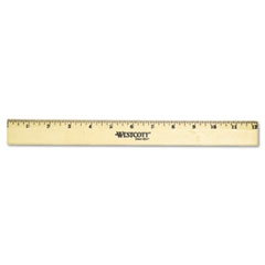 Wood Ruler with Single Metal Edge, 12""