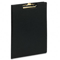 Pad Holder, Leather-Like Vinyl, Brass-Finish Clip, Expanding Pocket File, Black