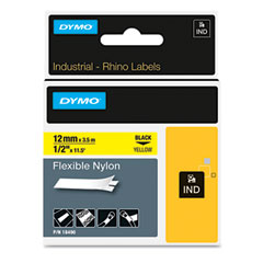 DYMO Rhino Flexible Nylon Industrial Label Tape Cassette, 1/2