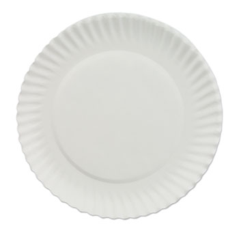 "Chef's Supply White Paper Plates, 6"" dia, 100/Bag, 10 Bags/Carton"