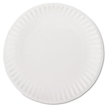 "White Paper Plates, 9"" Diameter, 100/BG, 10 BG/CT"