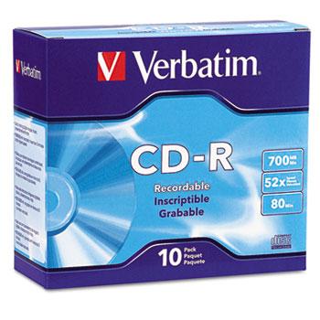 CD-R Discs, 700MB/80min, 52x, w/Slim Jewel Cases, Silver, 10/Pack