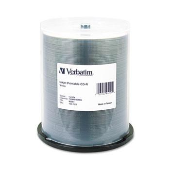 Verbatim® CD-R, 52x, 700MB, Inkjet Printable, White, 100/Pack